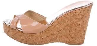 Jimmy Choo Patent Leather Wedge Slide Sandals