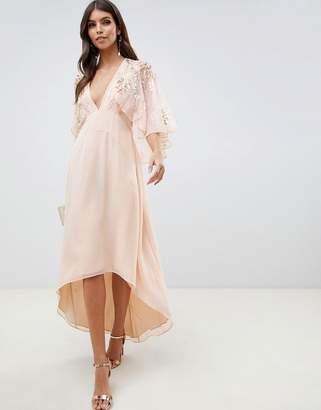 Asos DESIGN feather embellished cape midi dress