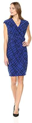 Anne Klein Women's Greenwich Tartan Printed Ity Drape Dress