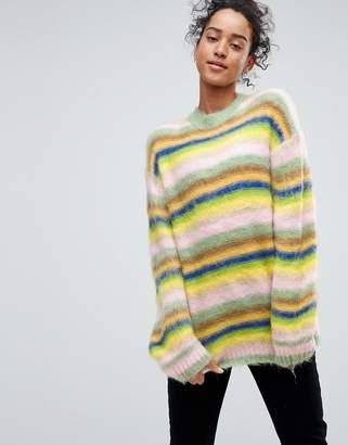 Asos Oversized Jumper Fluffy Rainbow Stripe