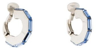 Christian Dior  Christian Dior Crystal Flat Huggie Clip-On Earrings