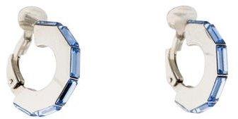 Christian Dior Christian Dior Crystal Flat Huggie Clip-On Earrings