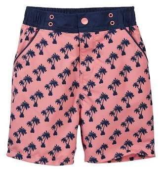Andy & Evan Palm Tree Print Swim Trunks (Toddler & Little Boys)