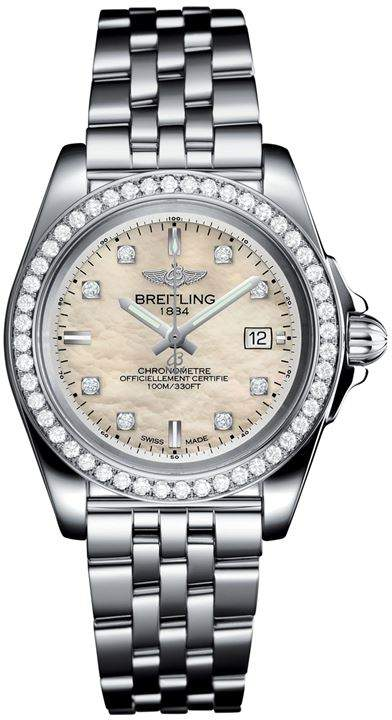 Stainless Steel Galactic Sleek Diamond Bezel Quartz Watch 32mm