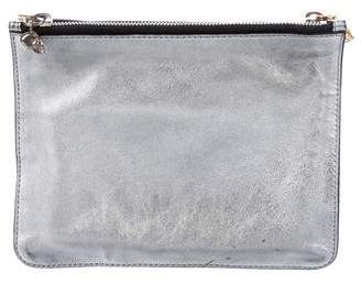 Alexander McQueen Metallic Leather Dual Compartment Zip Clutch