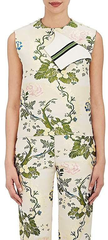 CALVIN KLEIN 205W39NYC Women's Floral Silk-Wool Jacquard Foldover Top
