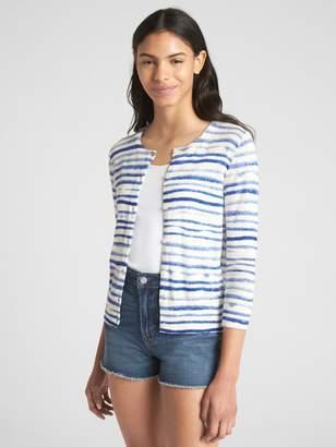 Gap Slim Stripe Crewneck Cardigan Sweater