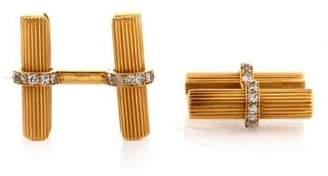 Van Cleef & Arpels 18K Yellow Gold & Diamond Cufflinks