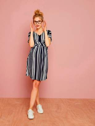 Vertbaudet Loose-Fitting Striped Maternity Dress