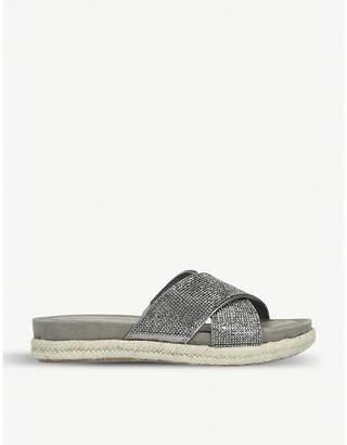 Carvela Comfort Sian metallic crystal-embellished espadrille sandals