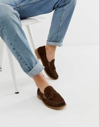 Base London Tempus tassel loafer in brown suede