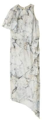 MANGO Asymmetrical ruffle dress