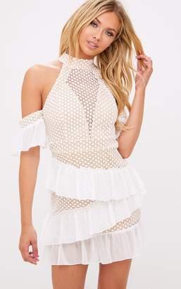 PrettyLittleThing White Crochet Mesh Frill Detail Bodycon Dress