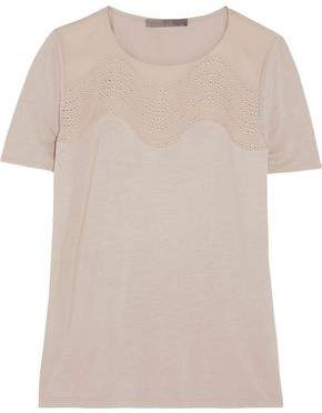 Halston Jersey And Embroidered Silk Top