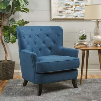 Noble House Willie Tufted Fabric Club Chair, Navy Blue, Dark Brown