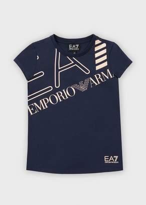 Emporio Armani Ea7 Jersey T-Shirt With Maxi Logo