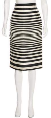J. Mendel Striped Knee-Length Skirt Black Striped Knee-Length Skirt