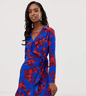 John Zack Tall ruffle wrap front tea dress in red floral print