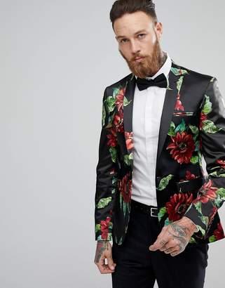 Asos DESIGN Super Skinny Blazer In Bold Floral Print
