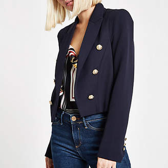 River Island Navy button detail double breasted blazer