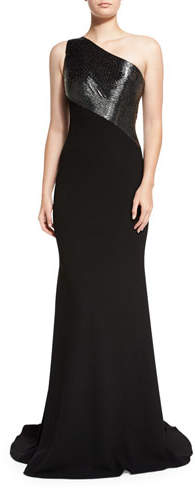 Carmen Marc Valvo Carmen Marc Valvo One-Shoulder Beaded Crepe Gown, Pewter/Black