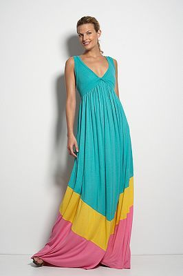 Kiwana Long Dress in Color Block Emerald