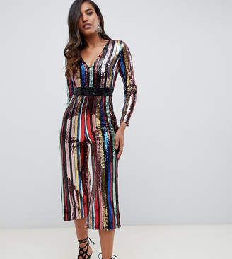 Starlet plunge front culotte jumpsuit in rainbow stripe