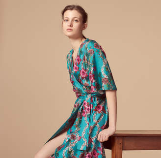 Sandro Silk kimono dress with floral print