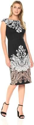 London Times Women's Printed Ponte Midi Sheath Dress