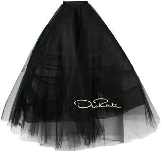 logo embroidered tulle petticoat