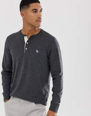 Abercrombie & Fitch icon logo henley long sleeve top in dark grey