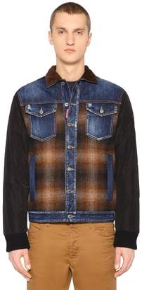 DSQUARED2 Patchwork Denim & Flannel Down Jacket