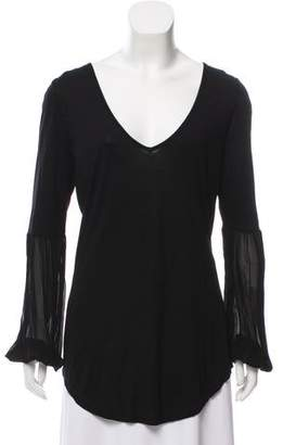 Young Fabulous & Broke Sheer Accented Long Sleeve Top w/ Tags