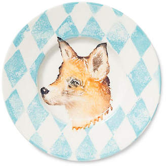 Vietri Into the Woods Fox Rimmed Platter - Light Blue