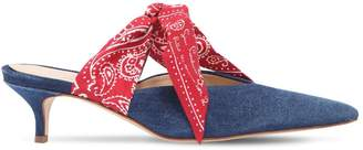 Couture Gia 35mm Silk Bandana & Denim Mules