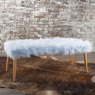 Noble House Maurice Light Blue Long Hair Furry Ottoman