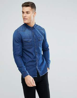 Tom Tailor Slim Fit Denim Shirt With Raw Edge And Sleeve Patch