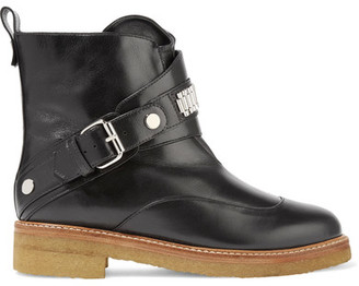 Lanvin - Chain-embellished Leather Ankle Boots - Black $1,245 thestylecure.com
