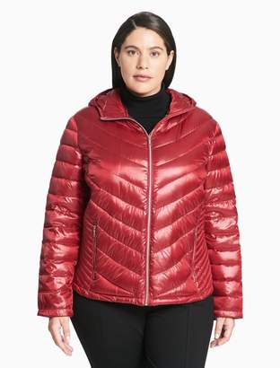 Calvin Klein plus size packable hooded down jacket