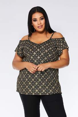 e6709c132b959 Quiz Curve Black And Gold Glitter Cold Shoulder Top