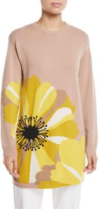 Valentino Daisy-Intarsia Crewneck Long-Sleeve Oversized Cashmere Sweater