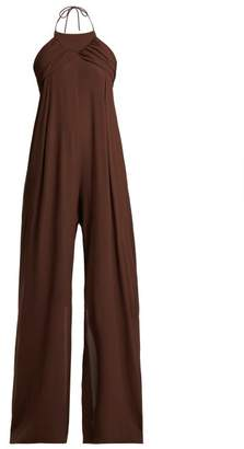 Jacquemus Saha Ruched Wide Leg Jumpsuit - Womens - Dark Brown