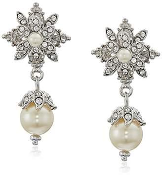 Marchesa Silverstone/Crystal Glass Pearl Drop Earrings