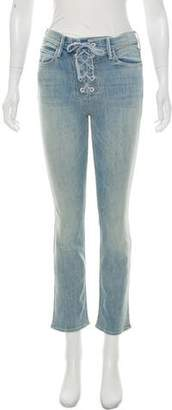 Mother Lace-Up Mid-Rise Jeans