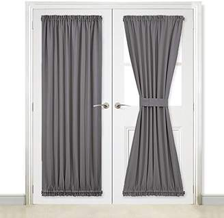 NICETOWN Grey French Door Curtains - Blackout Patio Door/Glass Door Curtain Panel for Privacy (One Piece
