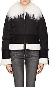 William Rast WOMEN'S FAUX-FUR-TRIMMED PUFFER JACKET-BLACK SIZE M