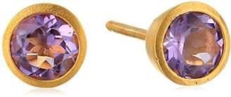 Satya Jewelry Amethyst Gold Stud Earrings
