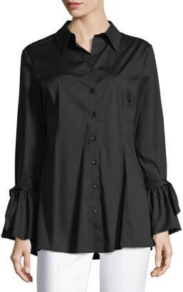 Neiman Marcus Tie-Sleeve Button-Down Tunic