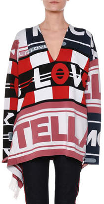 Stella McCartney V-Neck Logo Intarsia Pullover Sweater w/ Fringe