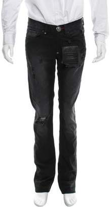 Philipp Plein Distressed Straight-Leg Jeans w/ Tags